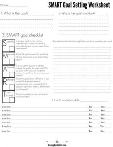 4 free smart goal setting worksheets and templates goal setting checklist template pdf