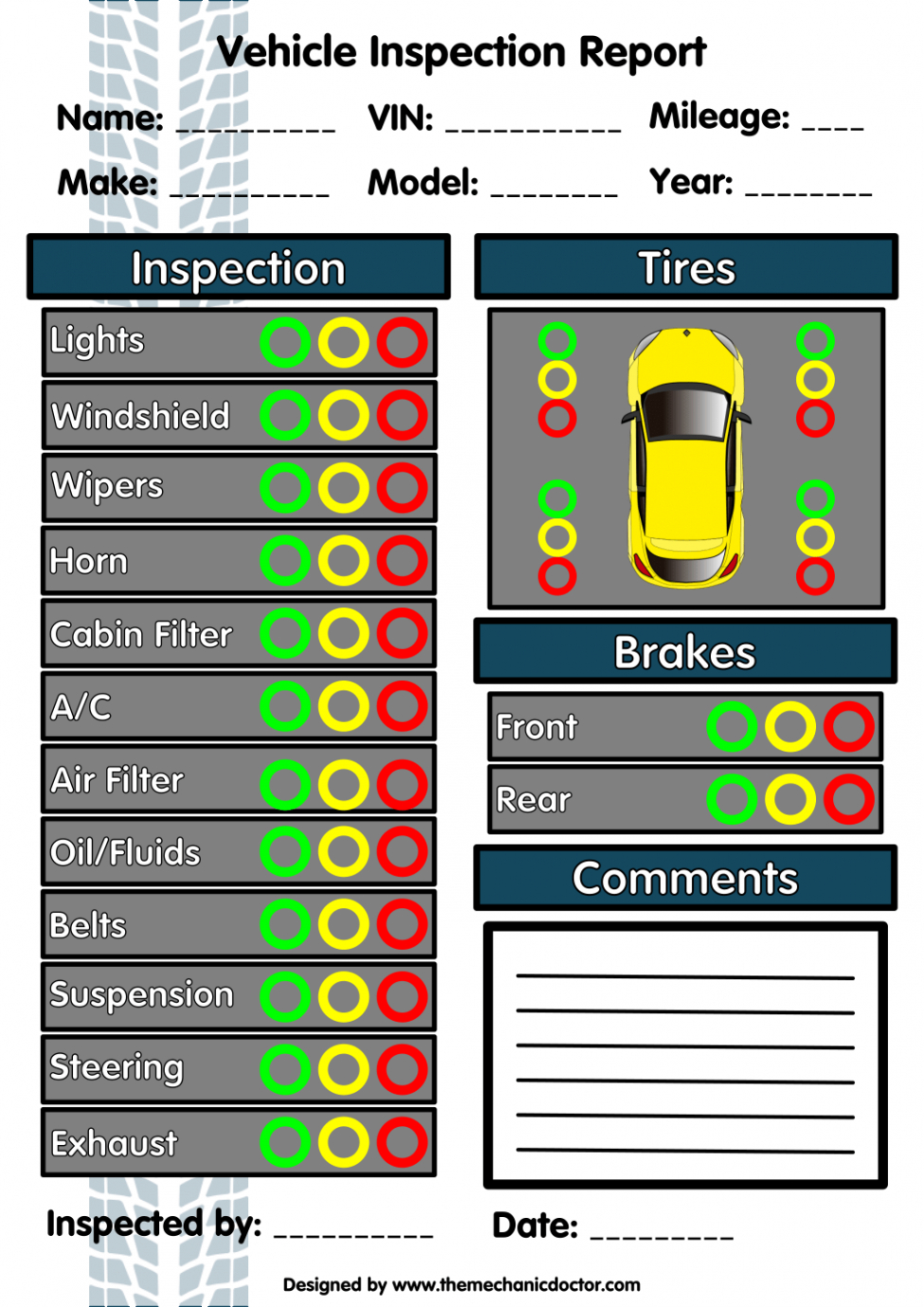 editable 6 free vehicle inspection forms  modern looking checklists mechanic checklist template word