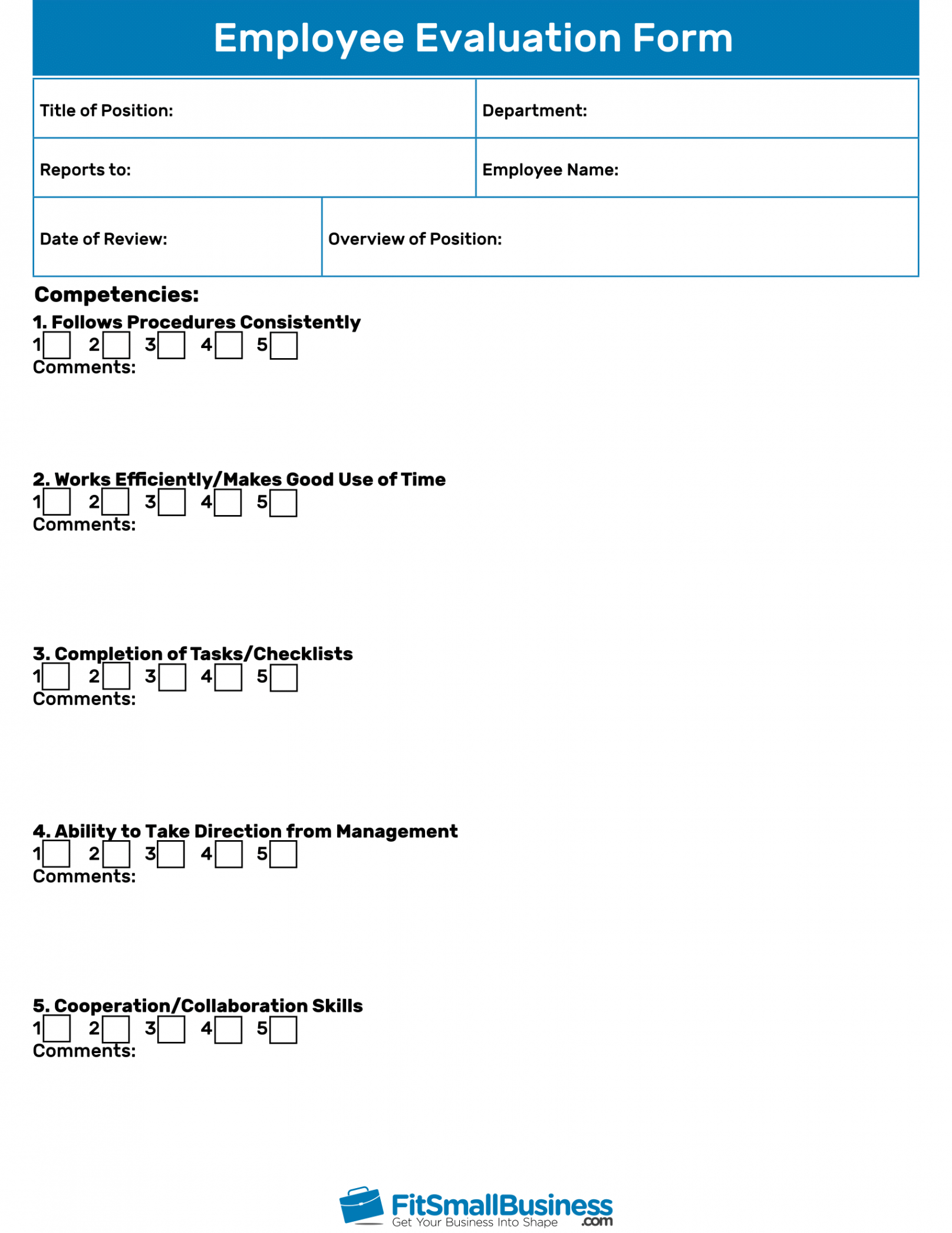 editable employee evaluation forms free performance review templates employee performance checklist template example