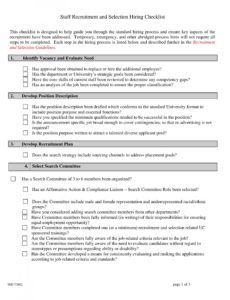 free 10 examples of recruitment checklist  pdf word  examples pre employment checklist template