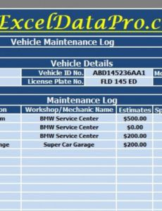 free download vehicle maintenance log excel template  exceldatapro mechanic checklist template doc