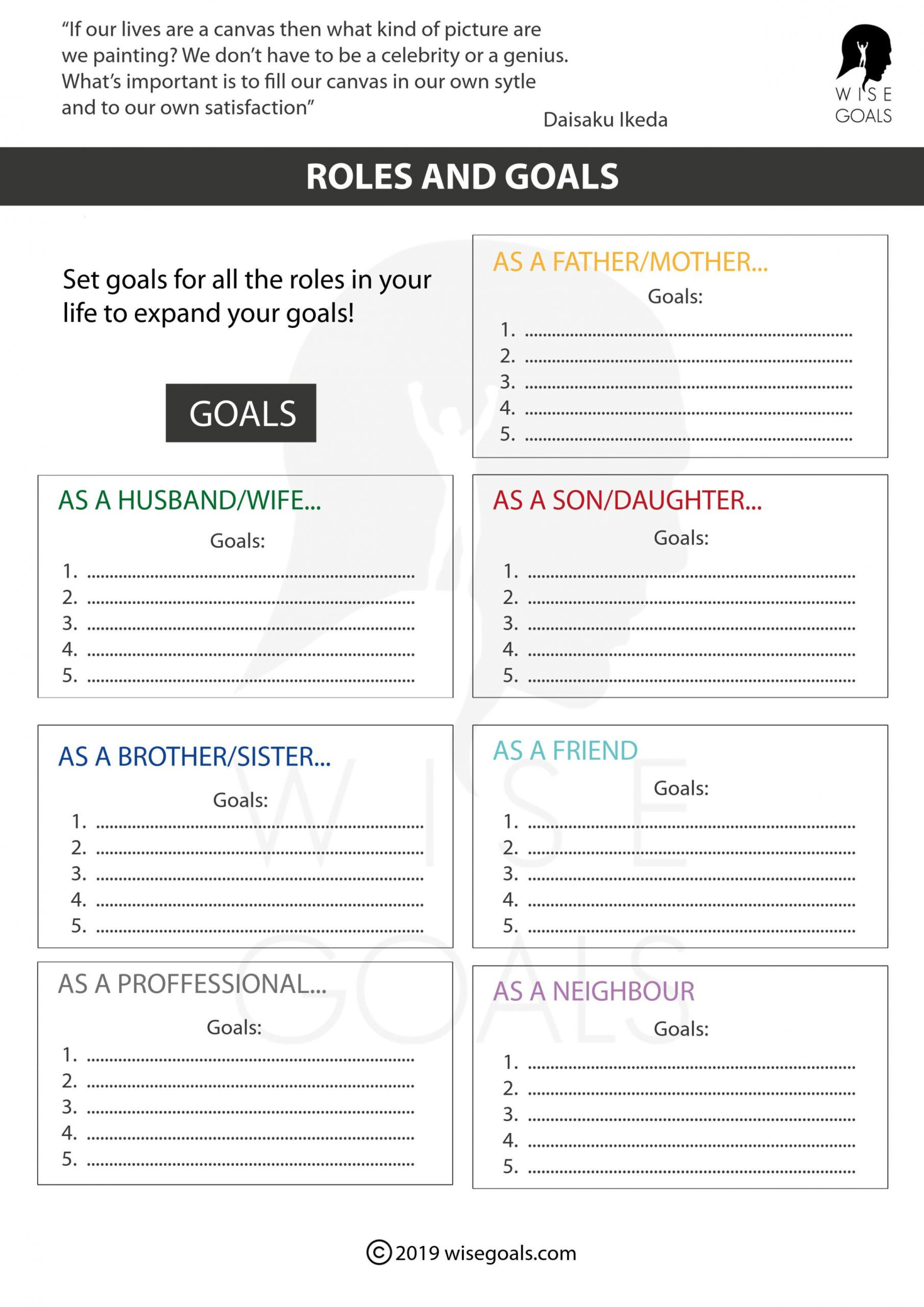 free stylish goal setting worksheets to print pdf free goal setting checklist template example