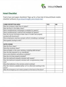 editable 11 hotel checklist examples  pdf word  examples front desk checklist template