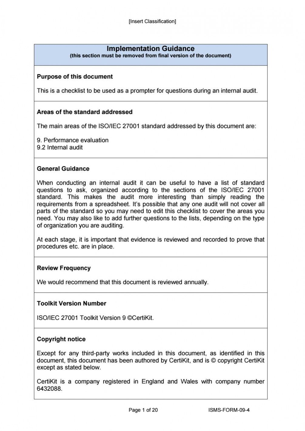 editable ismsform094 internal audit checklist by certikit limited security assessment checklist template pdf