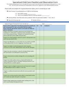 free 4 child care observation forms in ms word  pdf daycare checklist template doc