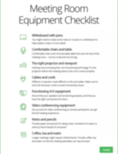 free conference room equipment checklist meeting room checklist template pdf