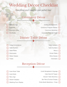 free floral wedding decor checklist template wedding decoration checklist template excel