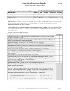 free food safety inspection checklist  workplacewizards food safety inspection checklist template example