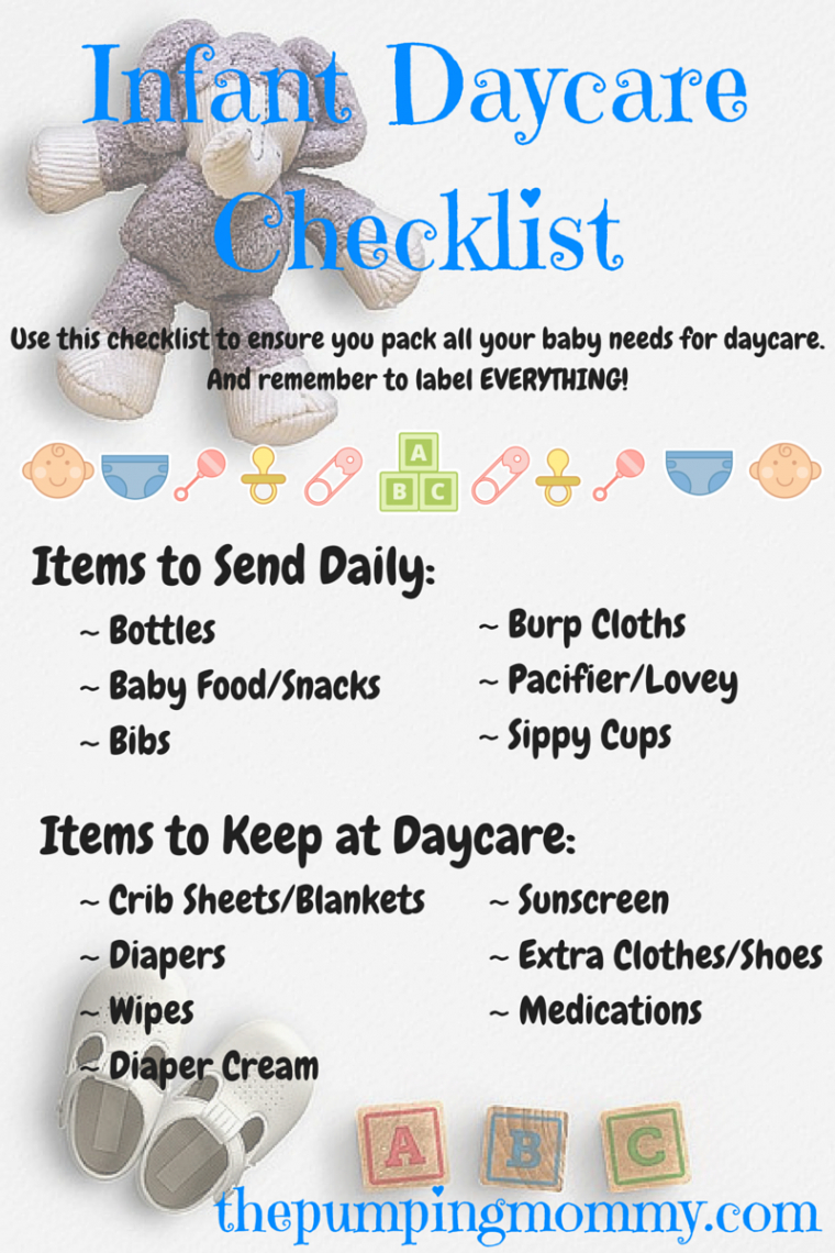 free infant daycare checklist  what to pack and label  the daycare checklist template example