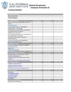 free medical assistant employee orien  simplebooklet front desk checklist template example