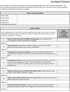 free outsourcing due diligence form  pdf free download vendor due diligence checklist template
