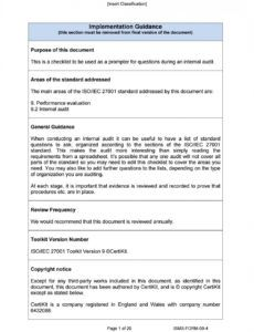 sample ismsform094 internal audit checklist by certikit limited it security audit checklist template