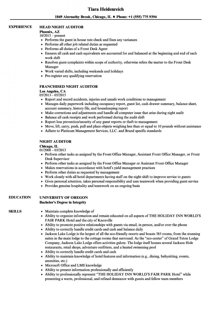 free night auditor resume samples  velvet jobs night audit checklist template
