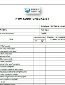 free permit to work ptw  audit checklist security audit checklist template excel