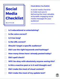 free your goto social media checklist for your next update social media checklist template sample