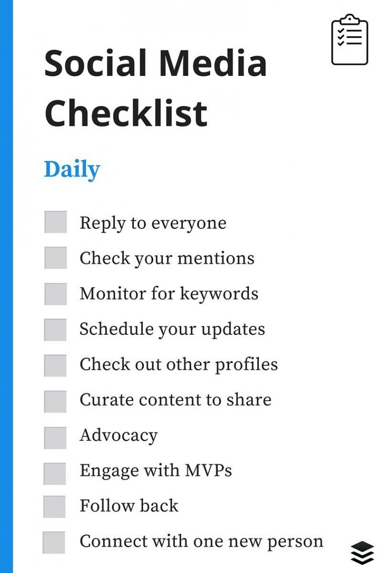 printable a daily weekly monthly social media checklist social media checklist template