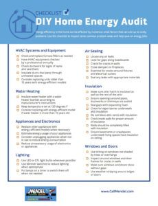 printable checklist for performing a diy home energy audit from mendel energy audit checklist template word