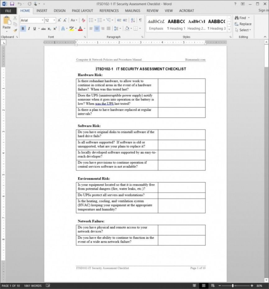 printable it security audit checklist template security audit checklist template
