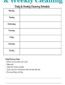 printable printable cleaning schedule form for daily & weekly cleaning daily kitchen cleaning checklist template doc