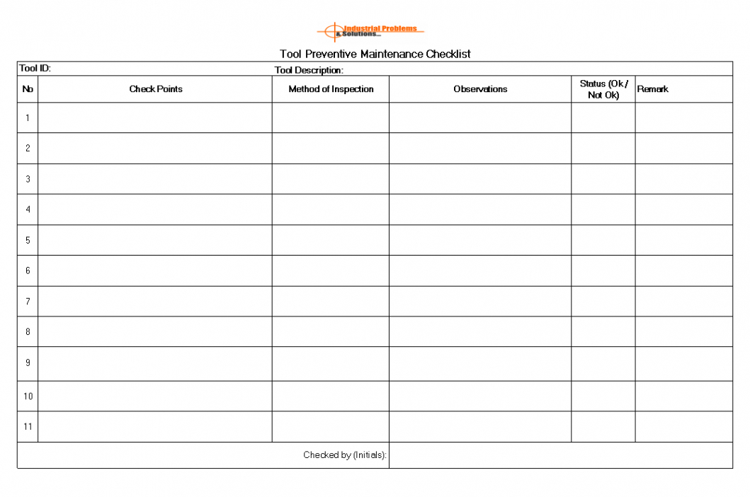 printable tool preventive maintenance to ensure the tool reliability hotel preventive maintenance checklist template excel