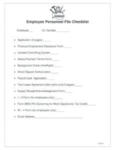 sample employee file checklist  fill online printable fillable employee personnel file checklist template doc