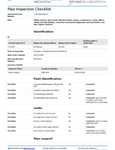 editable pipe inspection checklist free checklist and report form computer repair checklist template pdf