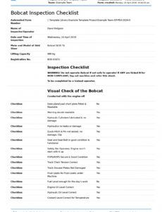 free free bobcat inspection checklist daily or safety inspections daily equipment checklist template word