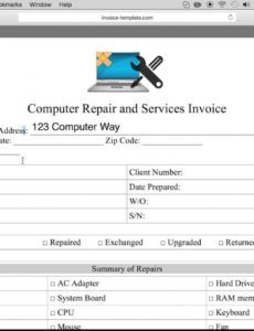 free free computer repair service invoice template  pdf  word computer repair checklist template sample