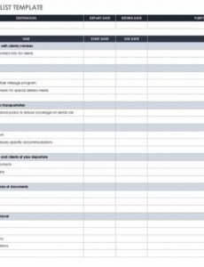 free itinerary templates  smartsheet business travel checklist template doc