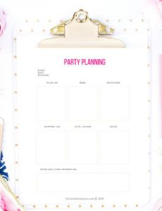 free party planning checklist printable pdf party planner checklist template excel