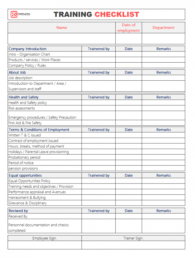 free training checklist template employee for l word free health safety training checklist template sample