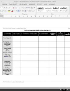 fsms hazard analysis checklist template  fds10701 food safety audit checklist template sample