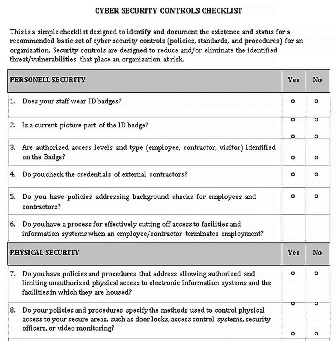 printable security assessment checklist template  bcjournal security risk assessment checklist template example