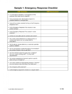 printable unit 15  emergency response planning sample 1 emergency emergency checklist template doc