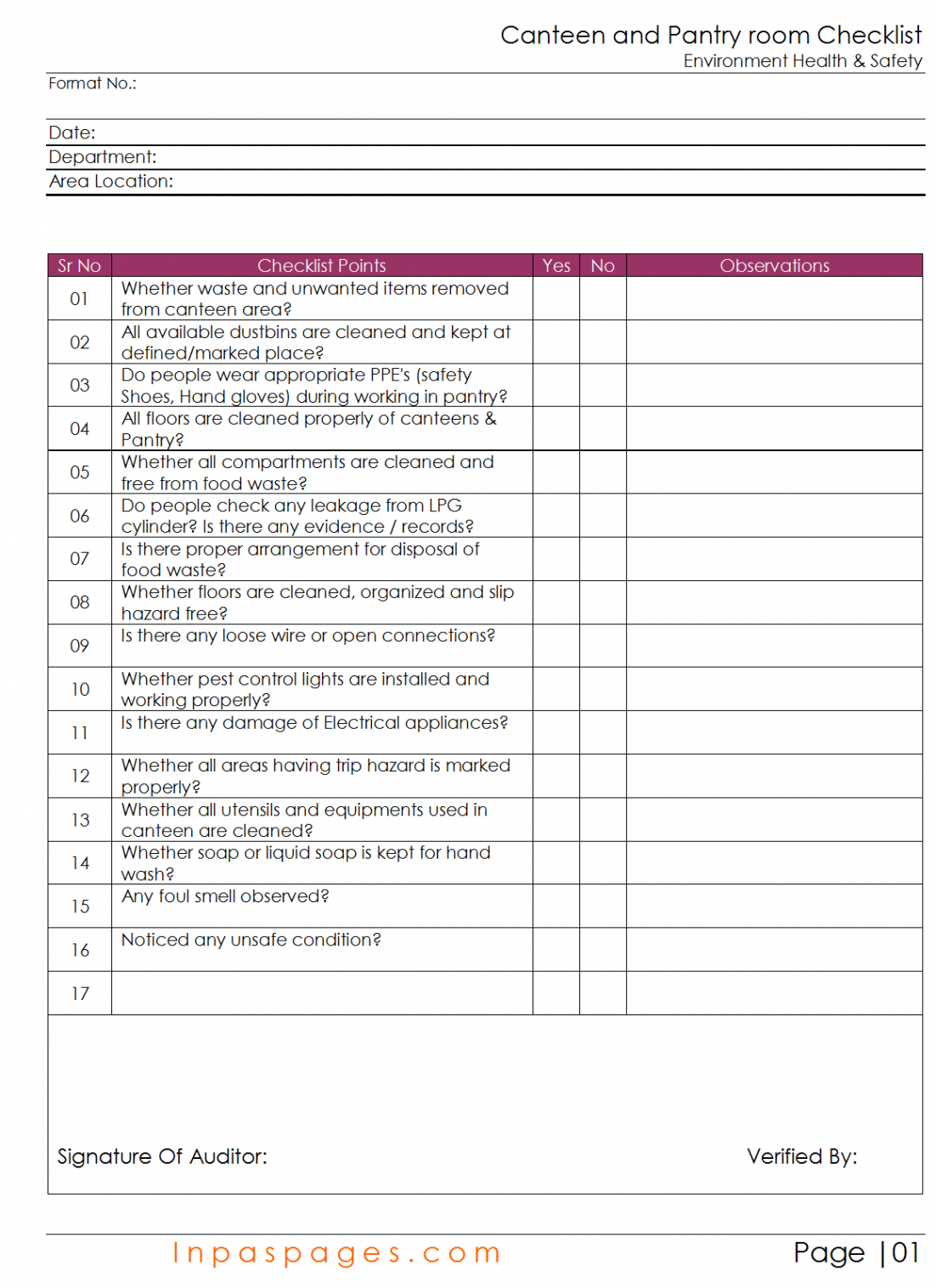 sample canteen and pantry room checklist food safety audit checklist template word