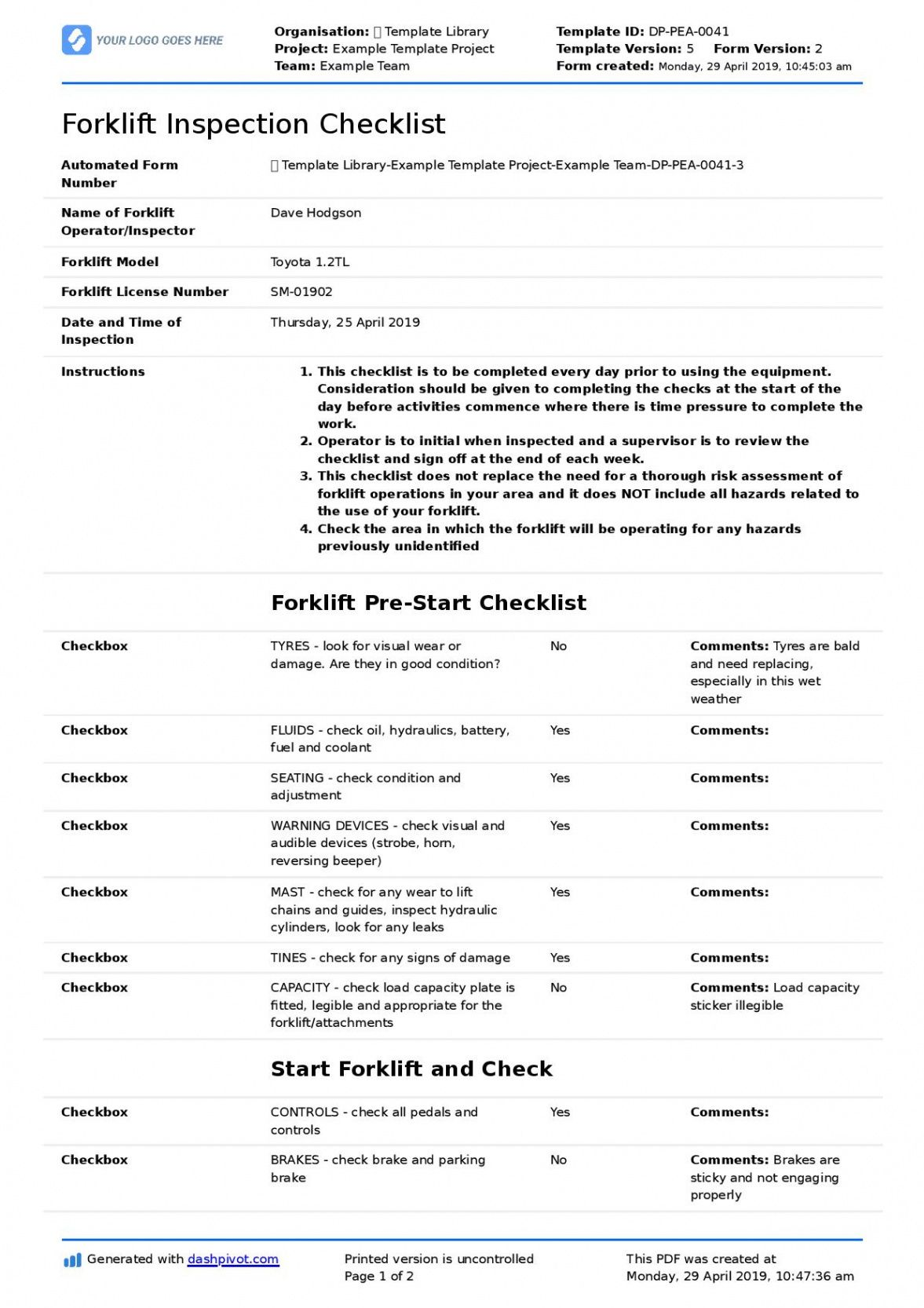 sample forklift inspection checklist for daily preuse & safety forklift safety checklist template doc