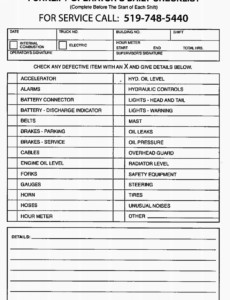sample forklift pre shift inspection operator checklist — wayco forklift safety checklist template doc