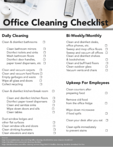 sample office cleaning checklist  download for free — kitchener clean janitorial cleaning checklist template excel