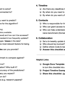 the machine learning project checklist  by markus schmitt project planning checklist template sample