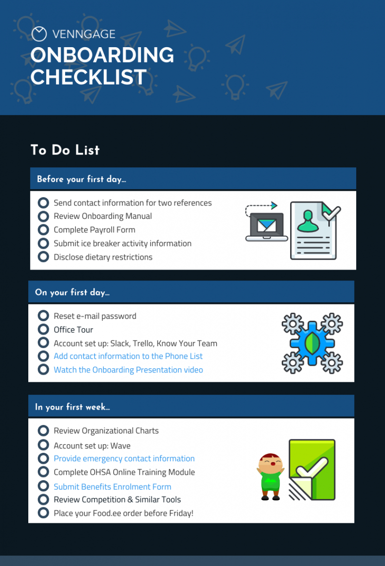 venngage onboarding checklist template onboarding checklist template excel
