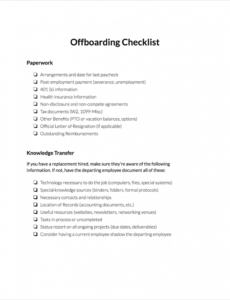 editable offboarding checklist  clicktime offboarding checklist template doc