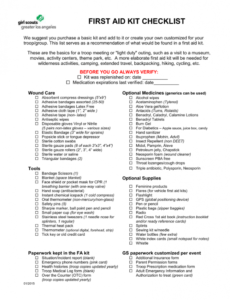 first aid kit checklist first aid supply checklist template sample