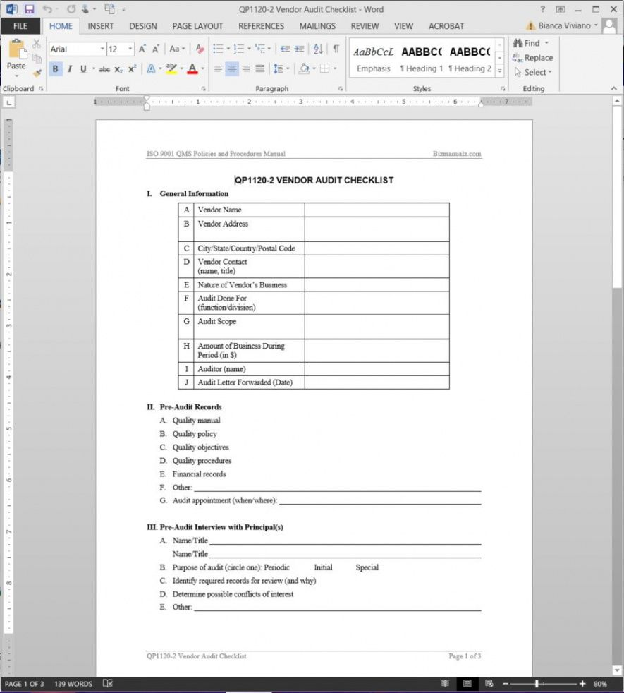 vendor audit checklist iso template  qp11202 vendor audit checklist template doc