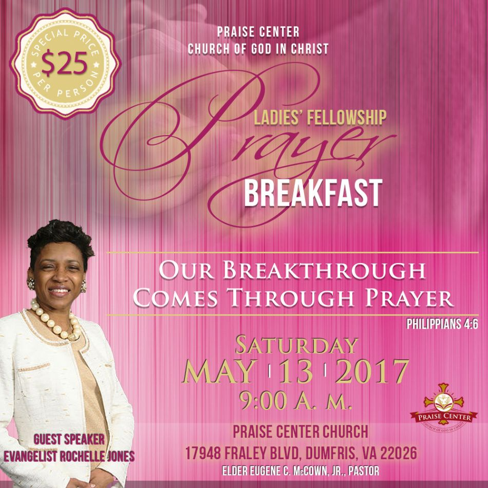 1st annual ladies' fellowship prayer breakfast  praise prayer breakfast ticket template example