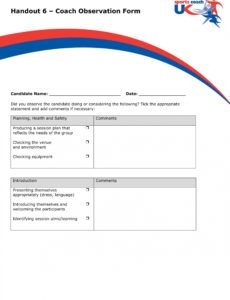 editable free 5 coach observation forms in pdf  ms word coaching checklist template sample