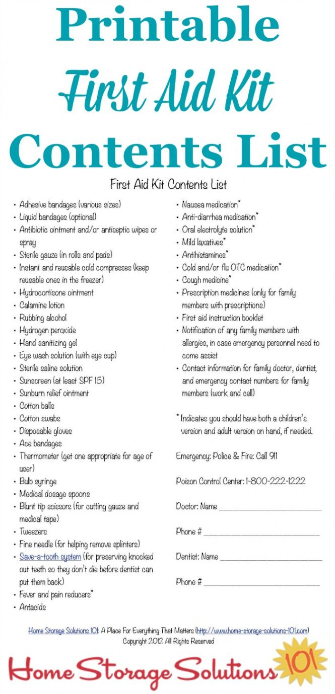 free first aid kit contents list what you really need first aid kit contents checklist template doc