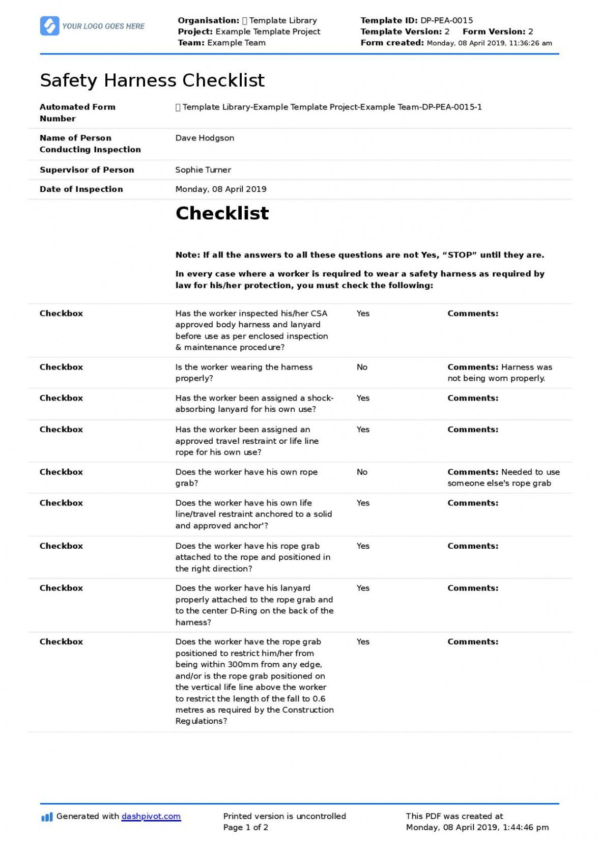 free safety harness inspection checklist template free and editable safety inspection checklist template example