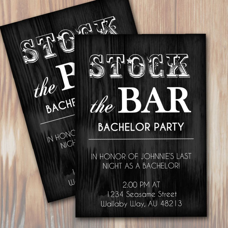 free stock the bar rustic bachelor party invitation  instant download stag party ticket template