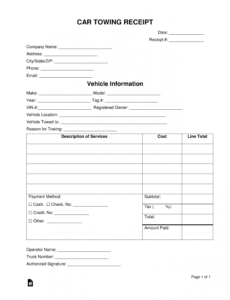 free vehicle towing receipt template  word  pdf  eforms tow ticket template word