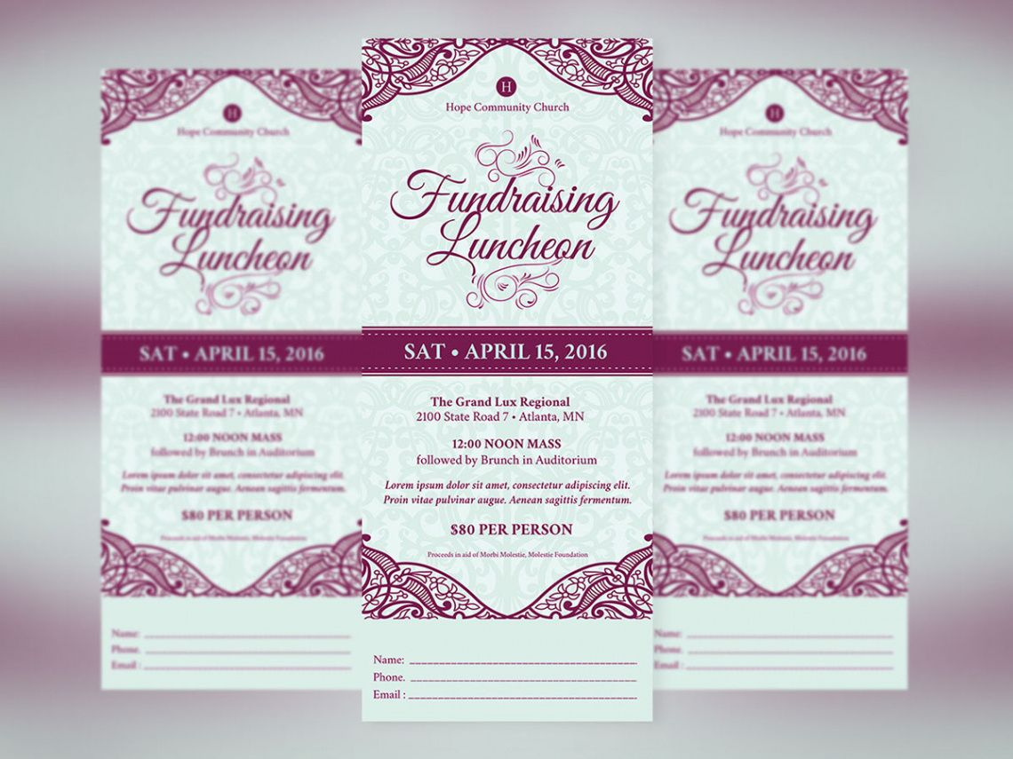 fundraising luncheon ticket template on behance banquet ticket template excel